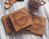 Custom Wood Coasters, Personalized Wooden Coaster Set w/ Engraved Wreath and Optional Cork for Wedding Gift or Bridal Shower Gift