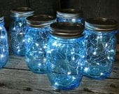 Cool White Mason Jar Fairy Lights, Centerpiece Lights, 39 Copper or Silver Wire Fairy Lights, Budget Saver! 10 LEDs, Batteries included.