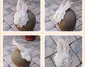 Sale Chic Vintage Ivory Crystal Hand Sewn Feather Wedding Bride Dancer Costume Hairpiece Comb