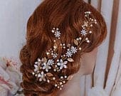 Gold Silver Bridal Hair Vine Headpiece Floral Hairpiece Party Head Piece Accessory Weddings Wreath Crystal Comb Brides Wedding Bride Gift
