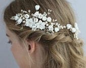 Gold Floral Beaded Bridal Wedding Hair Comb, White Porcelain Floral Bridal Hair Comb, Gold Bridal Hair Comb