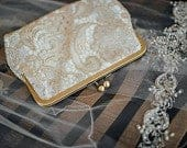 Gold Lace Bridal Clutch, Wedding Clutch, Personalized Formal Purse, Maid of Honor Gift, Mother of the Bride Clutch with 8 Inch Frame
