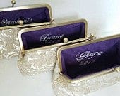 Set of 3 or 4 Gold Lace Bridesmaid Clutches, Personalized Wedding Clutch, Maid of Honor Gift, Set of 5 Clutches, Lace Clutch 8 Inch Frame