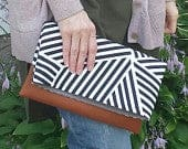 leather fold over clutch, canvas and leather clutch bridesmaid bag, black and white clutch, bridal clutch, gift idea
