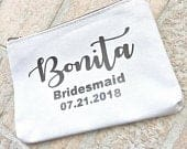 Personalized Bridesmaid Gift, Makeup Cosmetic Bag, Bridesmaid Makeup Bag, Wedding Thank you Gift, Custom Makeup Bag, Bridesmaid Bag
