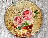 Pocket Mirror, Bridal Shower Party Favors, Unique Wedding Favors, Tea Party Favors, Compact Mirror Vintage Tea Cup, Gift under 5 A152