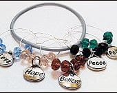 Inspirational Wine Charms, Glass Markers, Glass Tags, Glass Labels, Glass Identifiers, Inspirational Gift, Host Gifts 5 pack