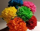 6 Hydrangea Crepe Paper Flowers, Mexican Flowers, Wedding, Party Decoration, Baby Shower, Paper Flowers, Cinco de Mayo, Birthday Party