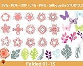 15 Folded Paper flowers template, small paper flower svg, flower tutorial videos, leaf template Pdf DXF Png Jpg for cricut silhouette