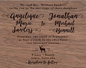 Aspen Mountain Wedding Invitation on Real Wood Veneer Collection Available