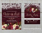 Elegant Rustic Burgundy Winter Wedding Invitation,Red,Ivory,Roses,Fairy Lights,Burgundy Barn Wood,Gold Print,Shimmery,Printed Invitation