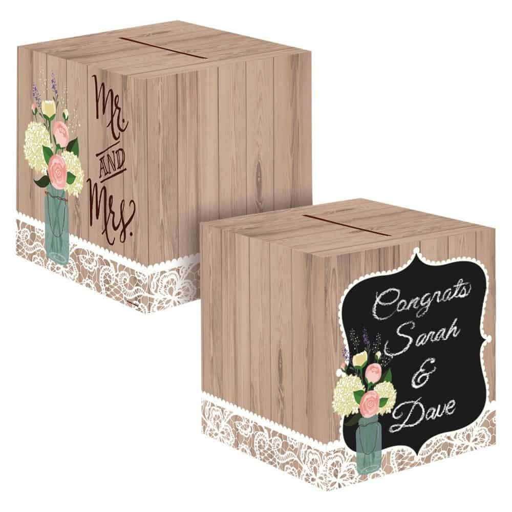 Rustic Wedding Card Box, each,