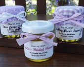 Lavender Honey Wedding Favors 50 1.5oz jars w/ raw honey infused with lavender, personalized labels, laced burlap topper raffia ribbon