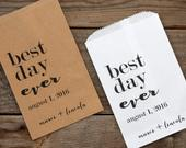 Best Day Ever Personalized Wedding Favor Bags Candy Buffet, Popcorn Bar, Rehearsal Dinner, Engagement Party