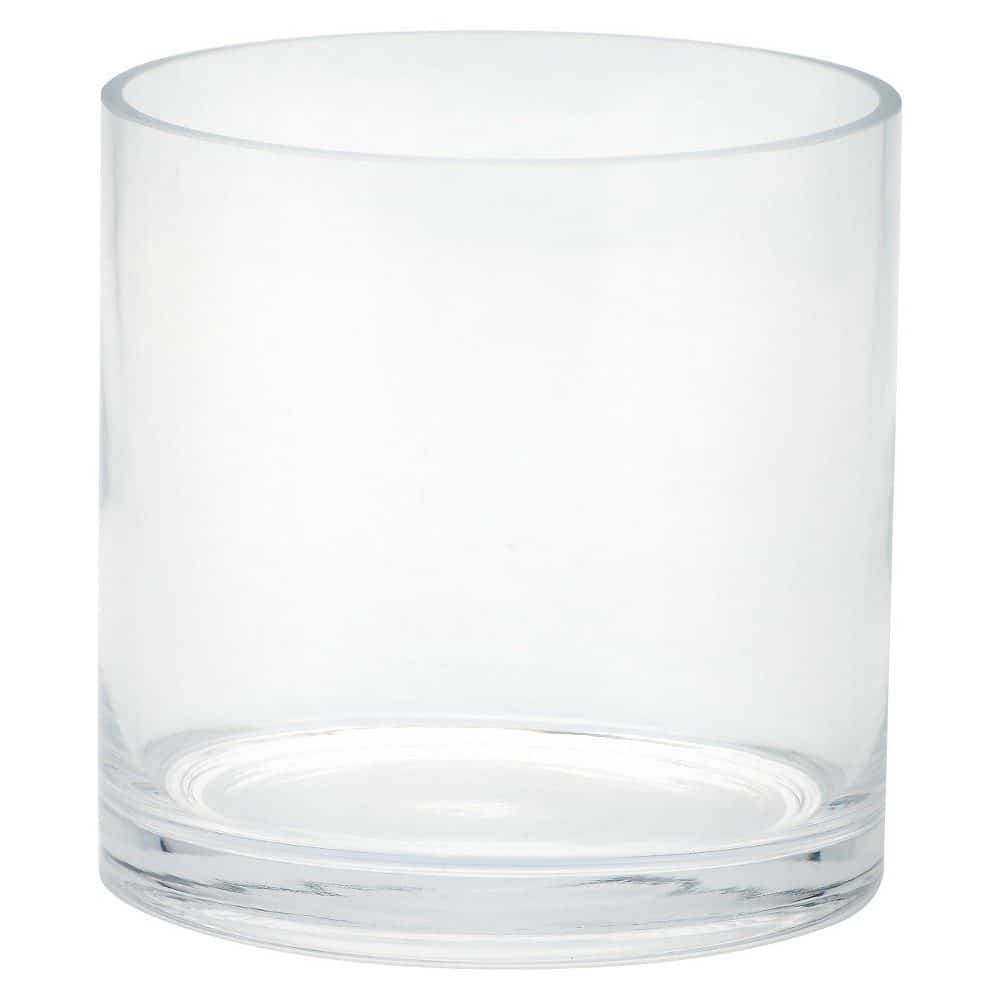 "Glass Cylinder Vase (6""x6"") - Diamond Star"", Clear"