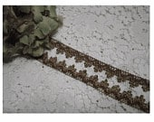VINTAGE Medium MeTTALIC Gold Lace and Copper Swag TRIM Yardage AnCIENT RuSTIC Look