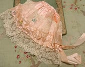 Antique silk ribbonwork poof gorgeous cap lace trim decrepti display peach cream shade lace ruffle doll flappers flapper handmade tulle