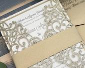 Gold Glitter Laser Cut Wedding Invitations, Elegant Winter Wedding Invite, Formal Glitter Custom Invitation Suite Melaina Anthony