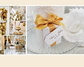 Gold Wedding Favor Boxes 1.25 ea. Wedding Favors Bridal Shower Favors 100 boxes satin ribbon bow with custom gift tag glued to box