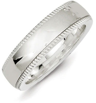 Sterling Silver 6mm Milgrain Wedding Band