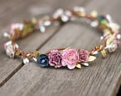 Rose Gold Floral Crown Navy Mauve Gold Flower Crown, Floral Crown Wedding, Gold Headpiece, Rustic Wedding, Taupe Boho Hair Piece Wedding