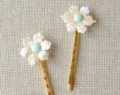 Ivory Gold Floral Bobbie Pin Set with blue crystal detail. Wedding Hair Piece, Hair Accessories, Flower Girl Gift, Garden Hair Piece