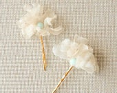 Ivory Silk Organza Floral Bobbie Pin Set with blue crystal detail. Wedding Hair Piece, Hair Accessories, Flower Girl Gift, Flower Girl