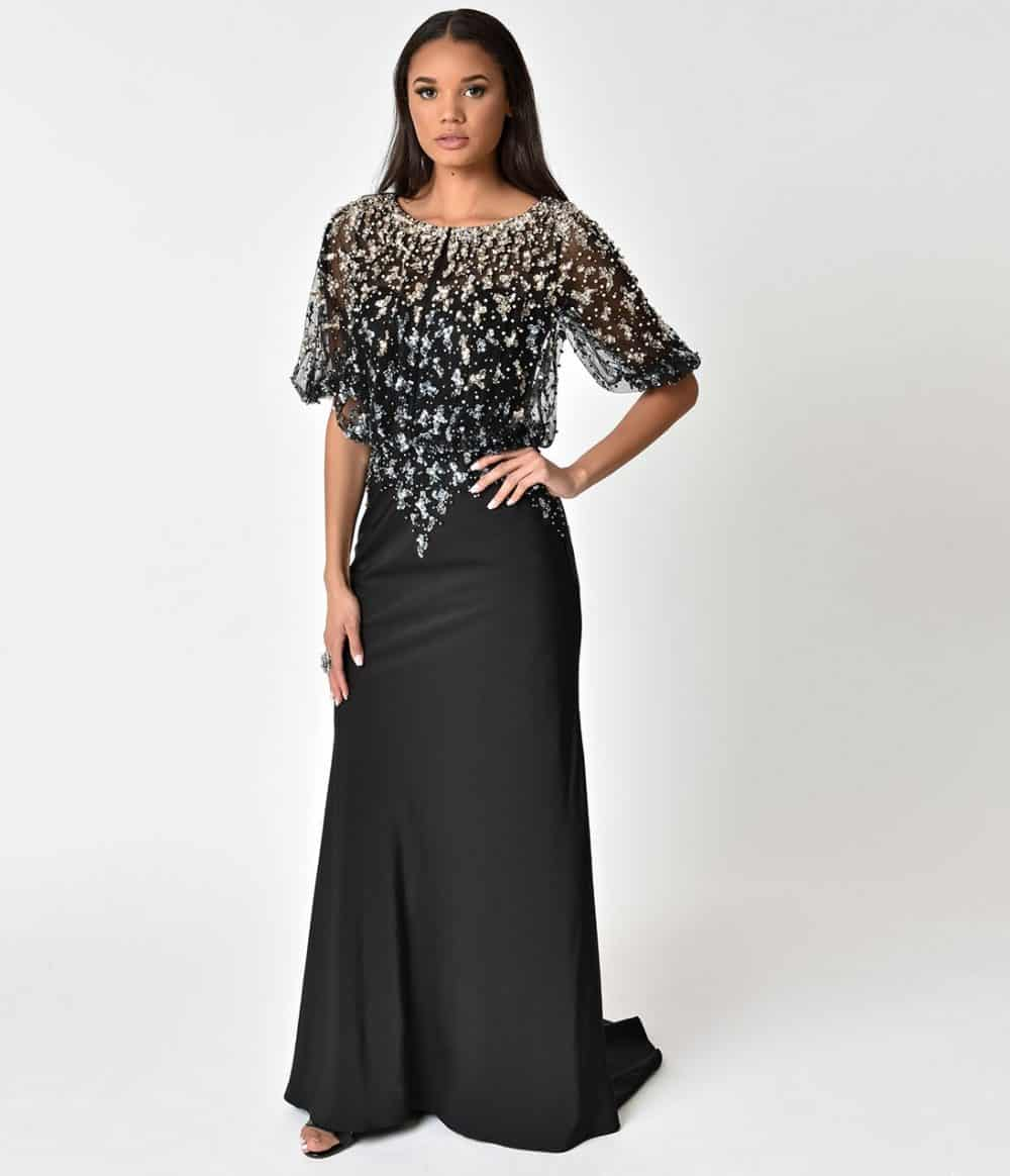 Black & Pearl Sequin Embellished Mesh Sleeved Long Dress