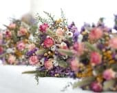 Our FIELD FLOWER Bridesmaid Dried Flower Bouquet For a Rustic Country Wedding Purple Bridal Bouquet