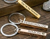 4 Sided Bar Key Chain Personalized Engraved Bar Keychain Gift for Men Custom Name Bar Keychain Custom Stamped Accessory Keychian for Dad