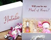Personalized bridesmaid proposal gift Box, custom gift box, Will you be my Bridesmaid box, Maid of Honor proposal box, Flower Girl proposal