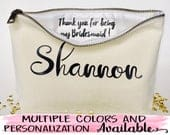 Personalized Bridesmaid gift, makeup bag,Canvas cosmetic bag, bridesmaids gifts,Wedding favors, Bridal gift, Zipper pouches, gift for bride