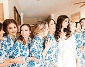 Bridesmaid Robes / Amaryllis Bridal Collection / Something Blue Robe / Cotton Bridesmaid Robe / Bridesmaid Gift / Wedding Floral Robes Set