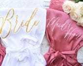 Satin Bridesmaid Robe / Bridal Robe / Lace Robe / Bridal Squad / Bridesmaid Gift / Personalized Bridesmaid, Maid of Honor, Wedding Robes