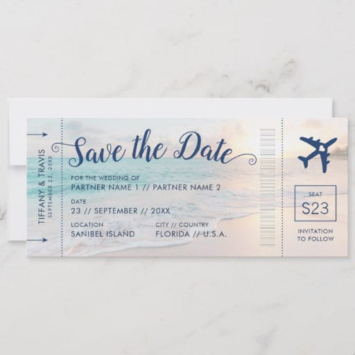 Beach Wedding Sunset Boarding Pass Save the Date Announcement
