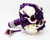 Purple White Roses Picasso Calla Lilies Bridal Bouquet Real Touch Rose Grooms Boutonniere Purple Plum White Wedding Bouquet