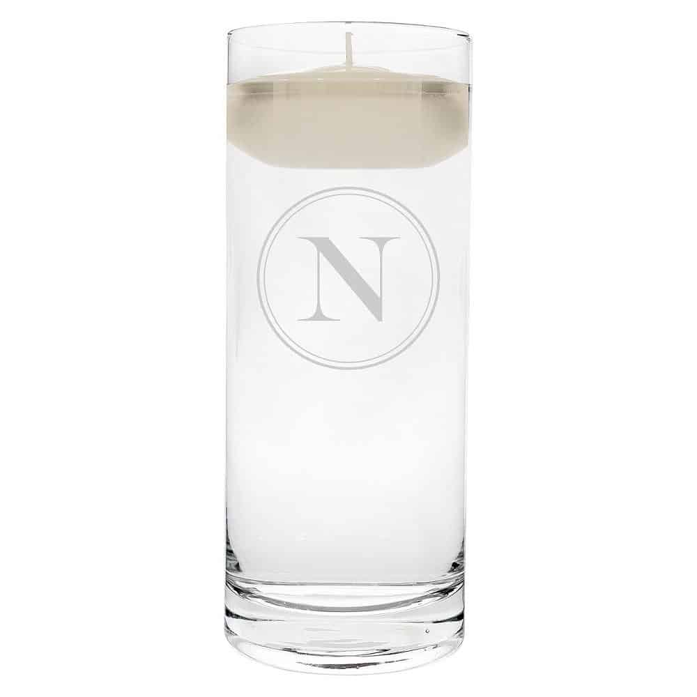 """N"" Monogram Floating Wedding Candle"