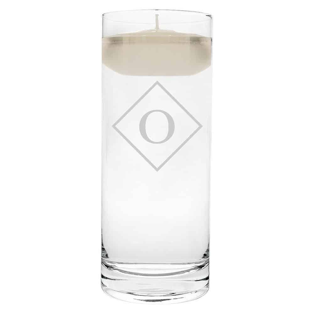 """O"" Monogram Diamond Shape Floating Wedding Candle"
