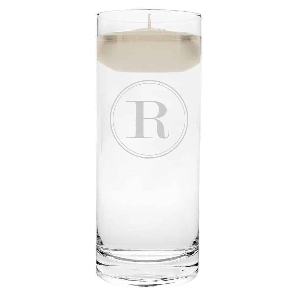 """R"" Monogram Floating Wedding Candle"