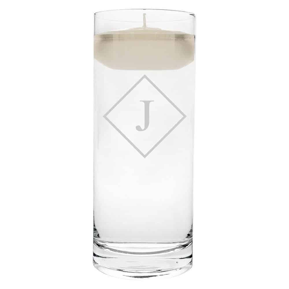 """J"" Monogram Diamond Shape Floating Wedding Candle"