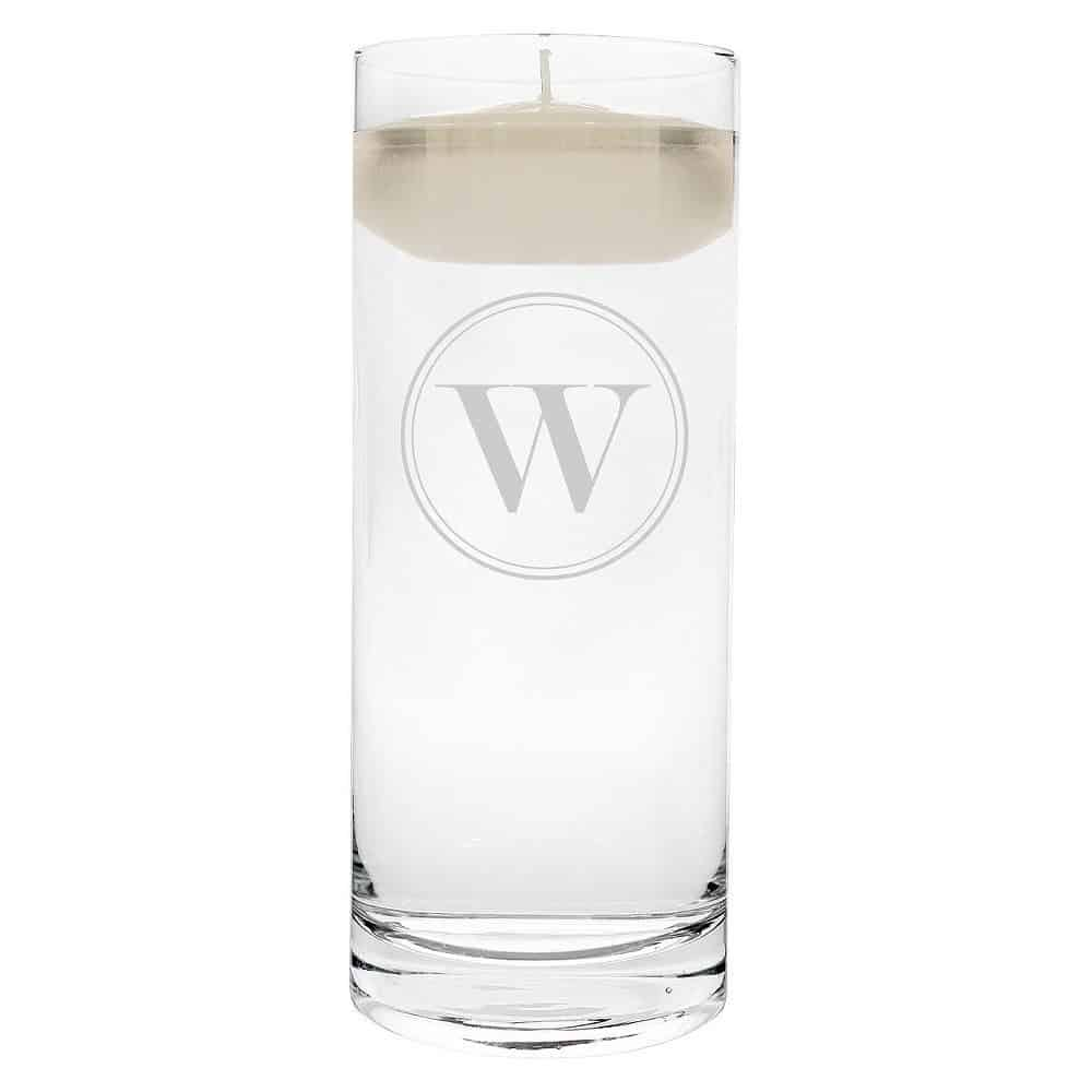 """W"" Monogram Floating Wedding Candle"
