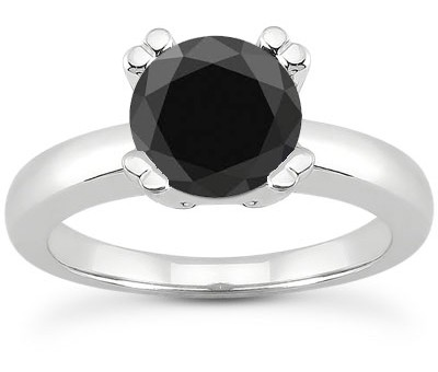 Half Carat Black Diamond Solitaire Engagement Ring