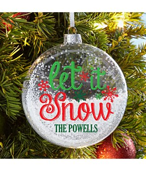 Personalized Let It Snow Glitter Glass Ornament