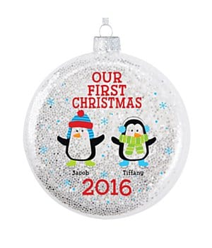 Personalized Playful Penguins Glitter Glass Ornament - Couple