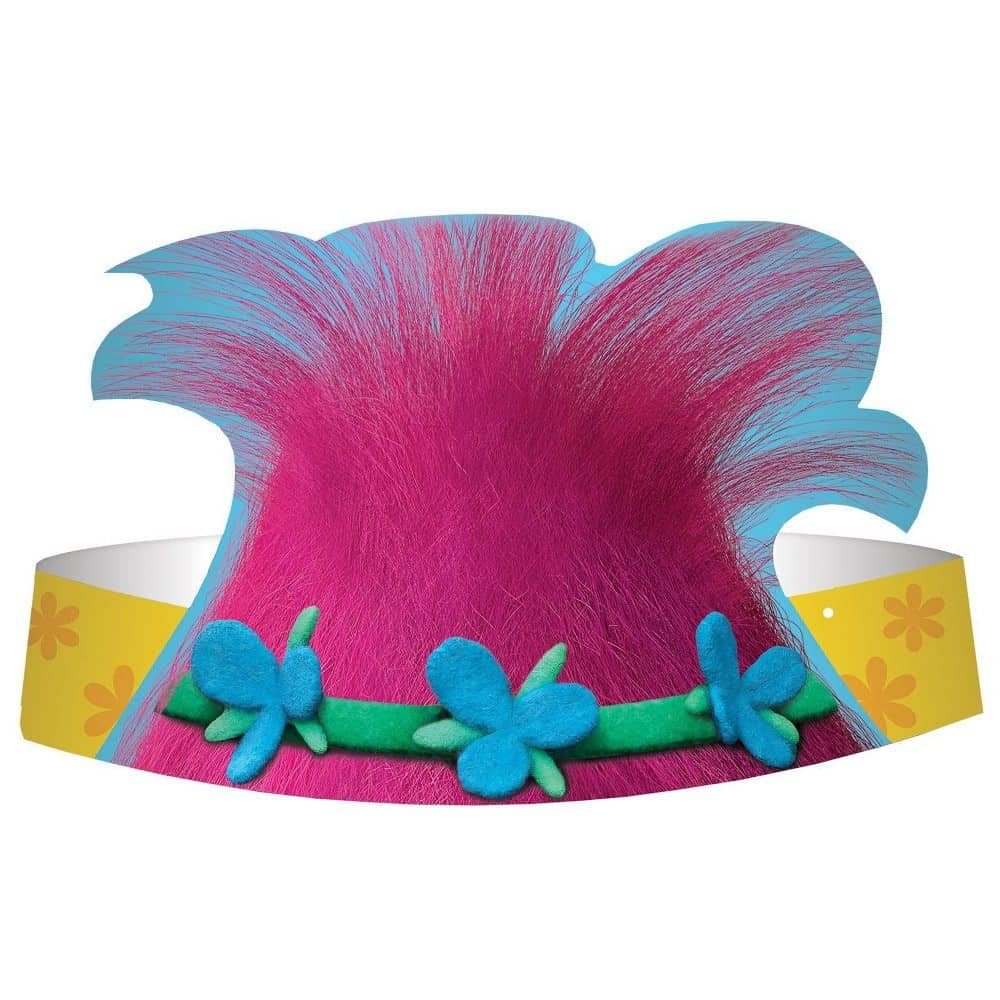 8ct Trolls Die Cut Paper Hat Party Favor Kit, Girl's