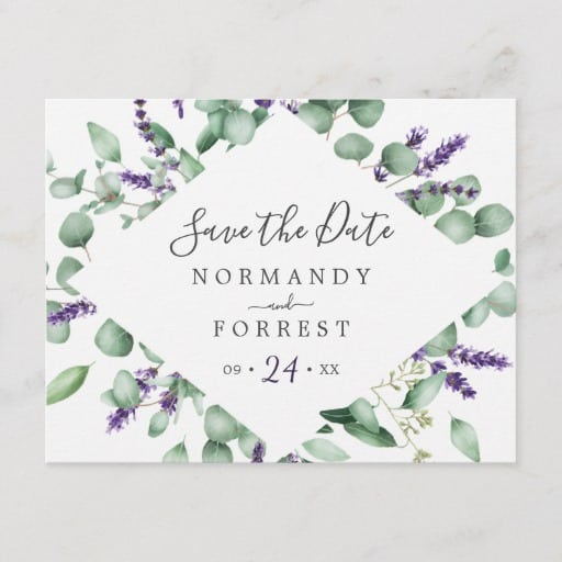 Rustic Lavender Save the Date Postcard