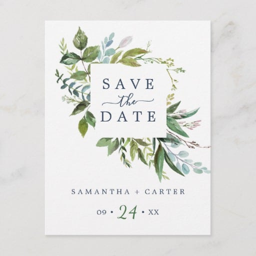 Summer Greenery Save the Date Postcard