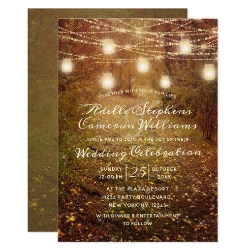 Maple Grove String Light Rustic Wedding Ceremony Invitation