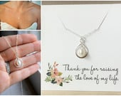 Mother of the Groom Gift, Mother of the Groom Necklace, Wedding Gift, Thank you Gift, Pearl Infinity Necklace, Freshwater Pearl Mom Necklace