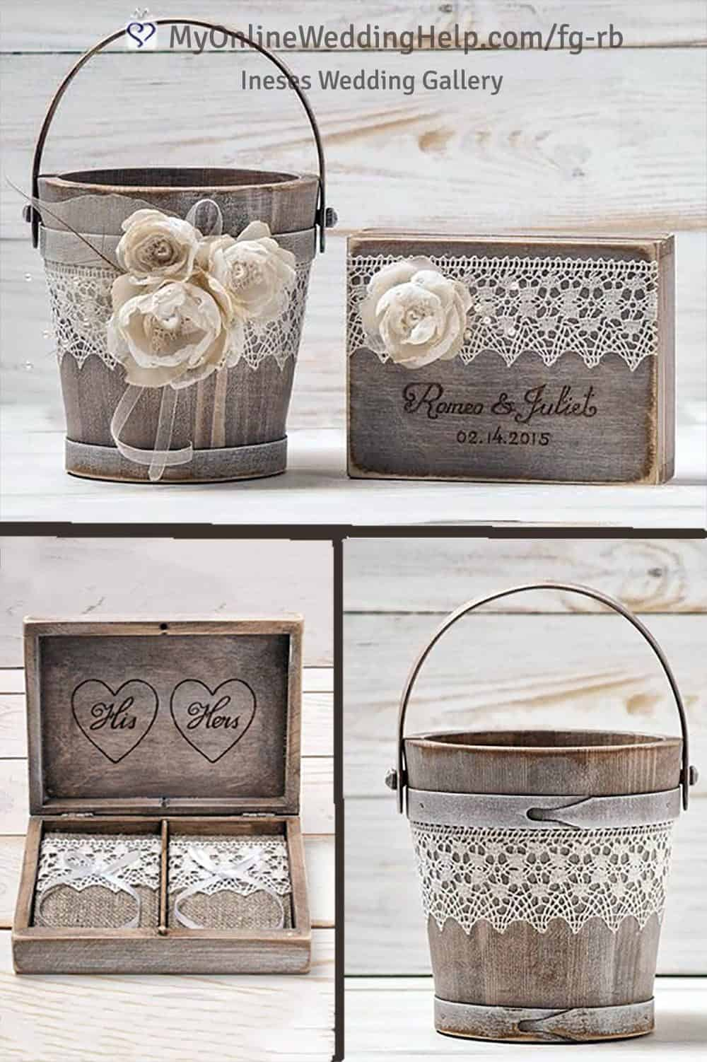 Rustic wood flower girl pail and ring bearer box. With lace and flower decorations. Learn more of buy in the My Online Wedding Help products section. 99.97 together. Basket only for around $48. Box only for about $51.